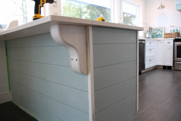 diy planked kitchen island with corbels and a tip for hiding the corbel screws, The Happy Housie on @Remodelaholic