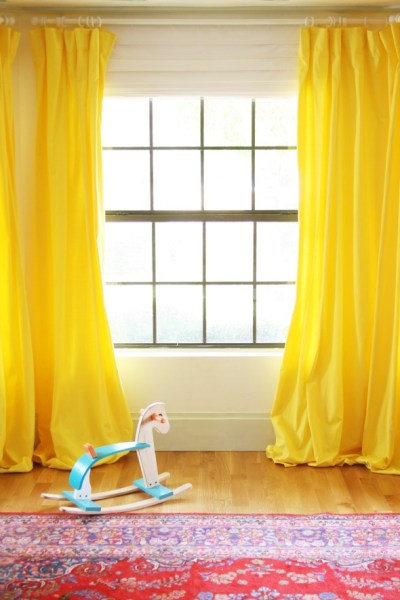 dyed white curtains yellow