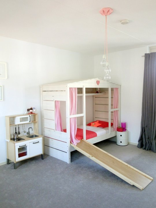 girls playhouse bed with slide, via Apartment Therapy