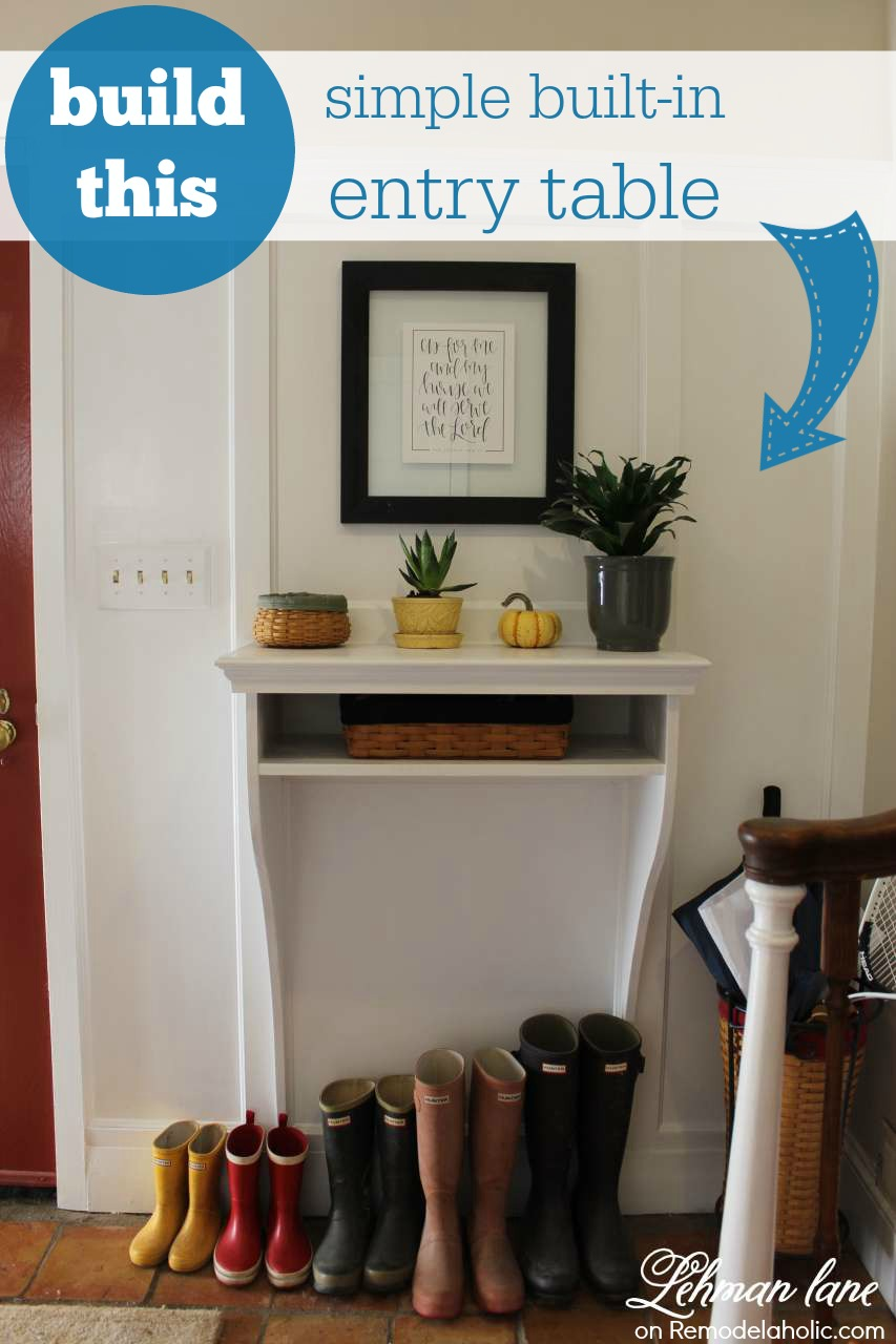 Remodelaholic  DIY BuiltIn Entryway Table with Board and Batten