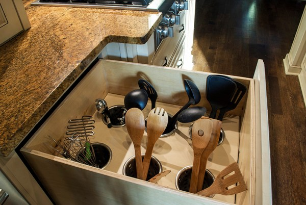 how to turn a deep drawer into an organized utensil drawer, Queen Bee of Honey Dos on @Remodelaholic