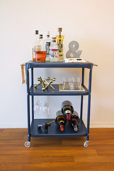 office cart turned bar cart