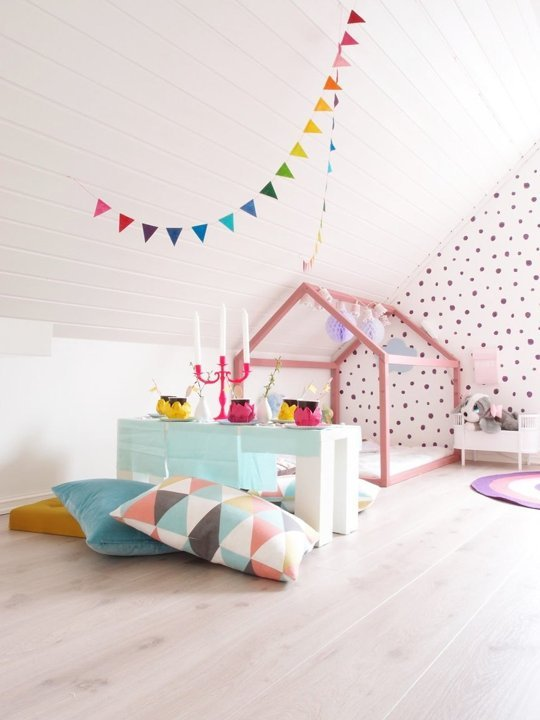 simple colorful girls room with house bed via Apartment Therapy
