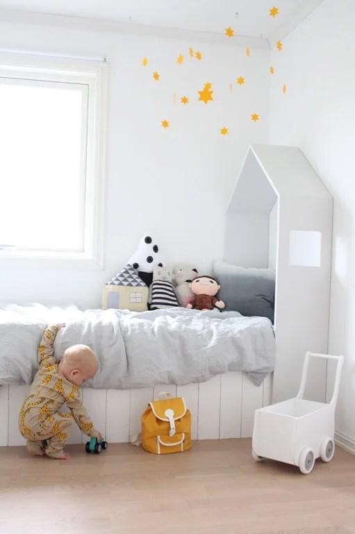 white house headboard for kids bed, scandinavian style, deasogmia