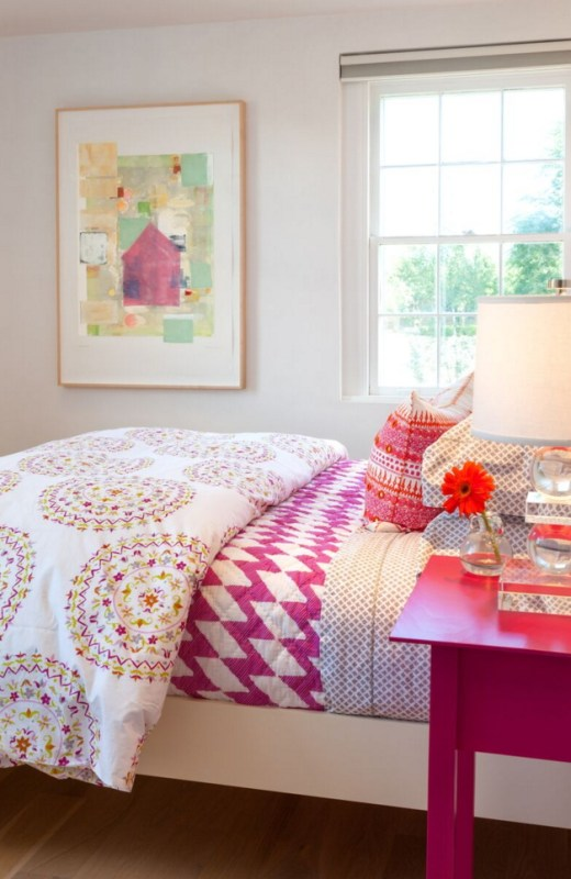 Great use of patterns on this pink bed setup! Bedroom by Violante & Rochford Interiors, photo credit © Wendy McEahern
