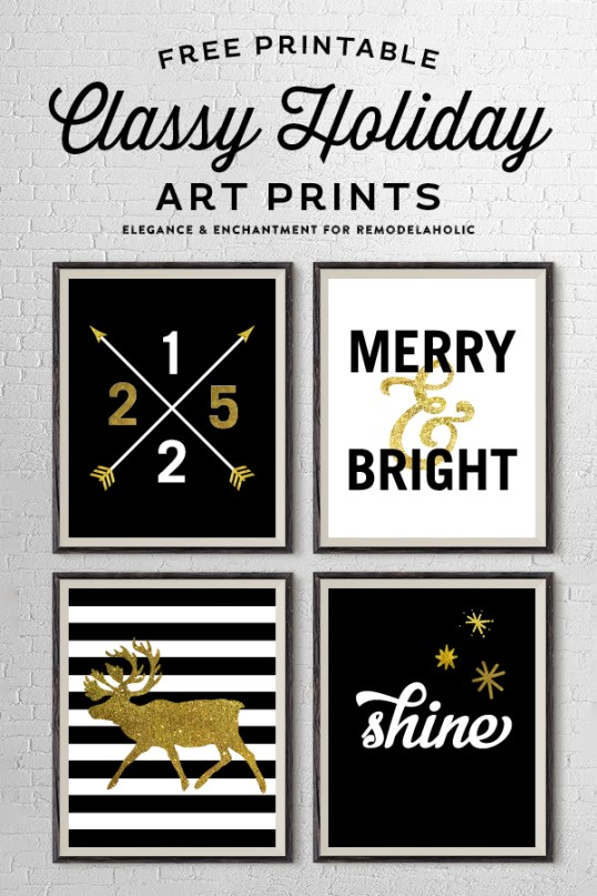 Free Printable Classy Holiday Art Prints in Gold, Black and White. These four prints could be hung individually or as a set. An easy Christmas decor idea or holiday gift! Designs by Elegance and Enchantment for @Remodelaholic.