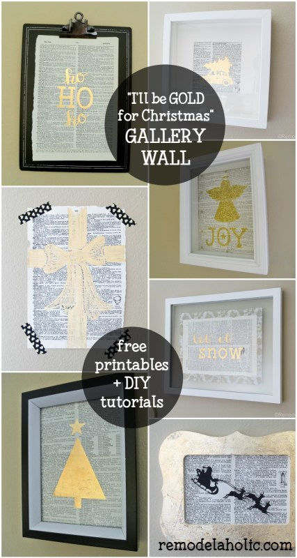 """I'll be GOLD for Christmas"" Gold Christmas Gallery Wall with Free Printables and DIY Tutorials for 4 Different Gold Prints @Remodelaholic"
