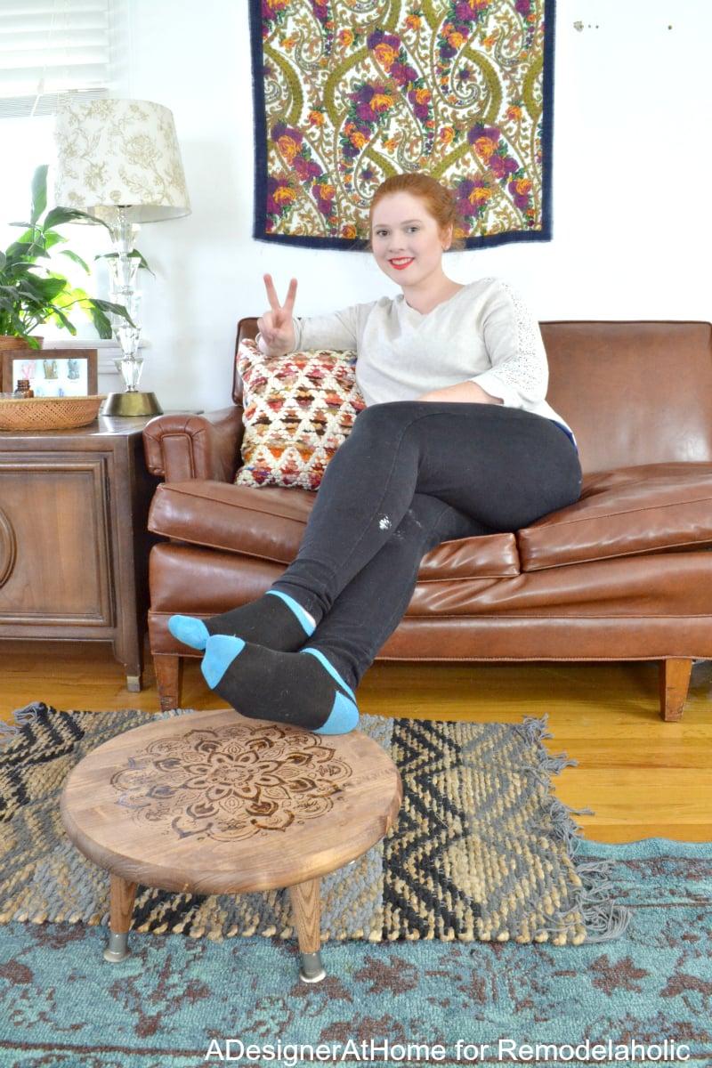 adesignerathome-boho-eclectic-living-room-thrifted-decor-furniture-high-style-handmade-pieces-mandala-burned-foot-stool
