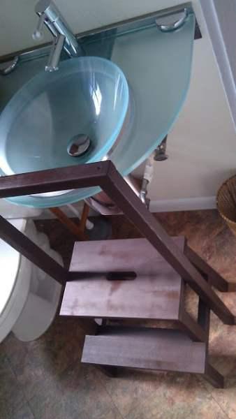 modified bekvam stool for safe toddlers bathroom