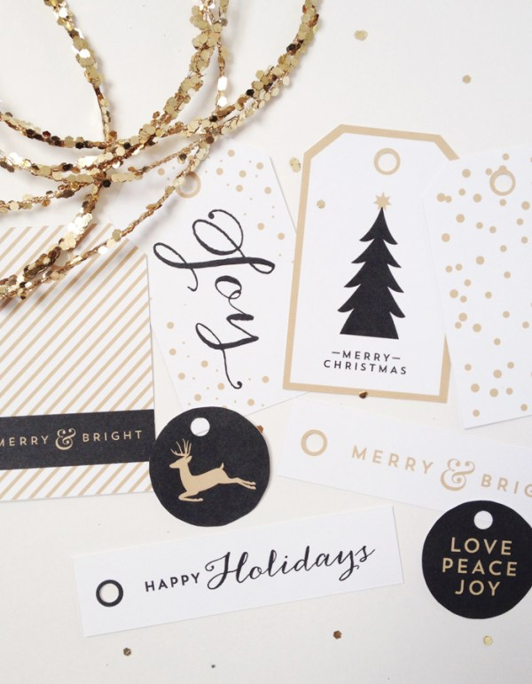 black and white and gold free printable Christmas gift tags Creative Index Blog