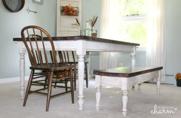diy farmhouse table and bench Character and Charm