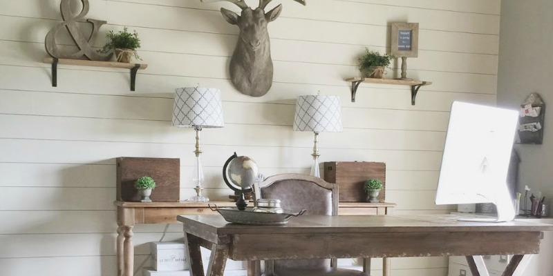 Remodelaholic  How to Install a Shiplap Wall  Rustic Home Office Makeover