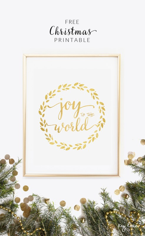 free joy to the world gold christmas printable Lil Luna