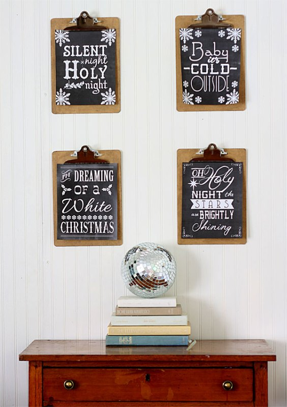 free printable black and white Christmas song art Shabby Creek Cottage