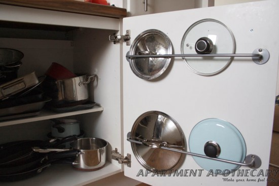 ikea kitchen hack bygel rail hold pot lids