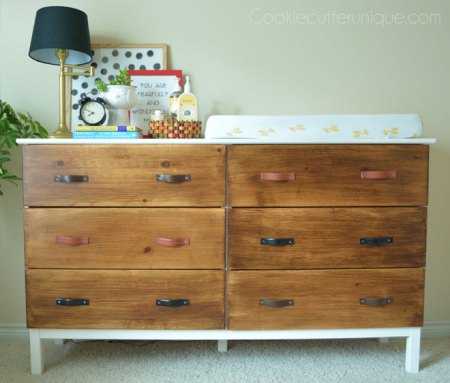 ikea tarva 6-drawer chest hack leather belt pulls