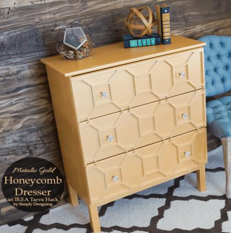 ikea tarva three-drawer chest hack gold honeycomb trim detail