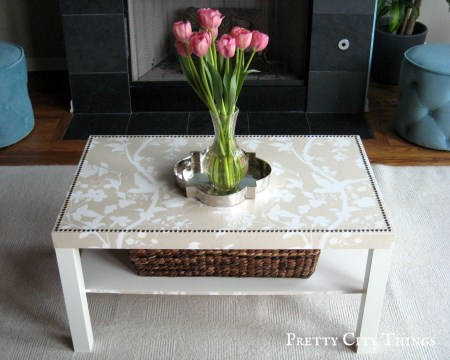 lack coffee table hack wallpaper nailheads