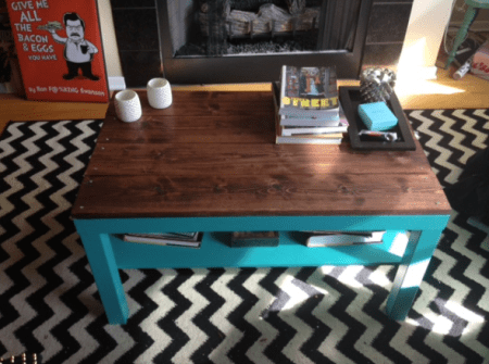 lack coffee table hack wood top turquoise legs
