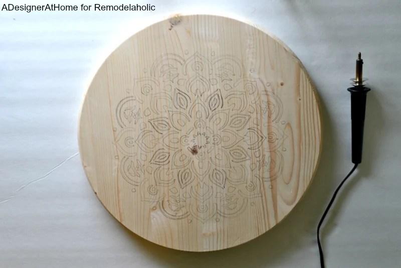 Pencil Stenciled Mandala Design Precut Wood Circle Wood
