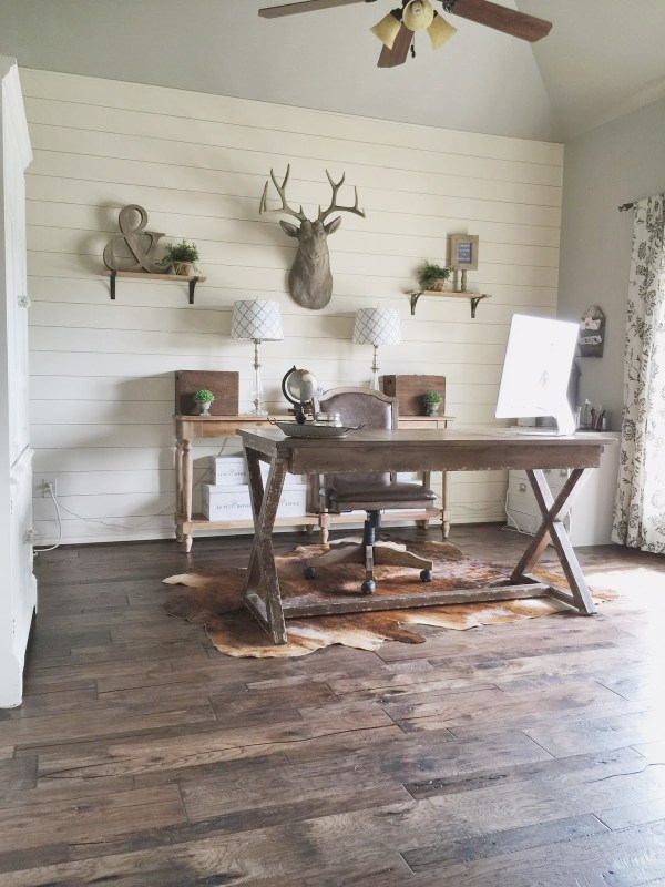 rustic home office with DIY shiplap wall and beautiful hickory wood flooring, Jillify It on @Remodelaholic