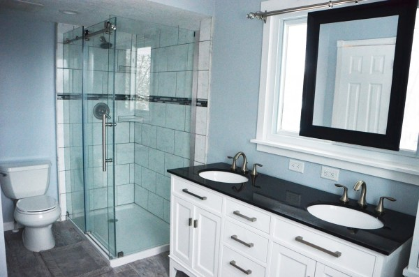 Remodelaholic Master Bathroom Renovation With Sliding Mirror Over The Window