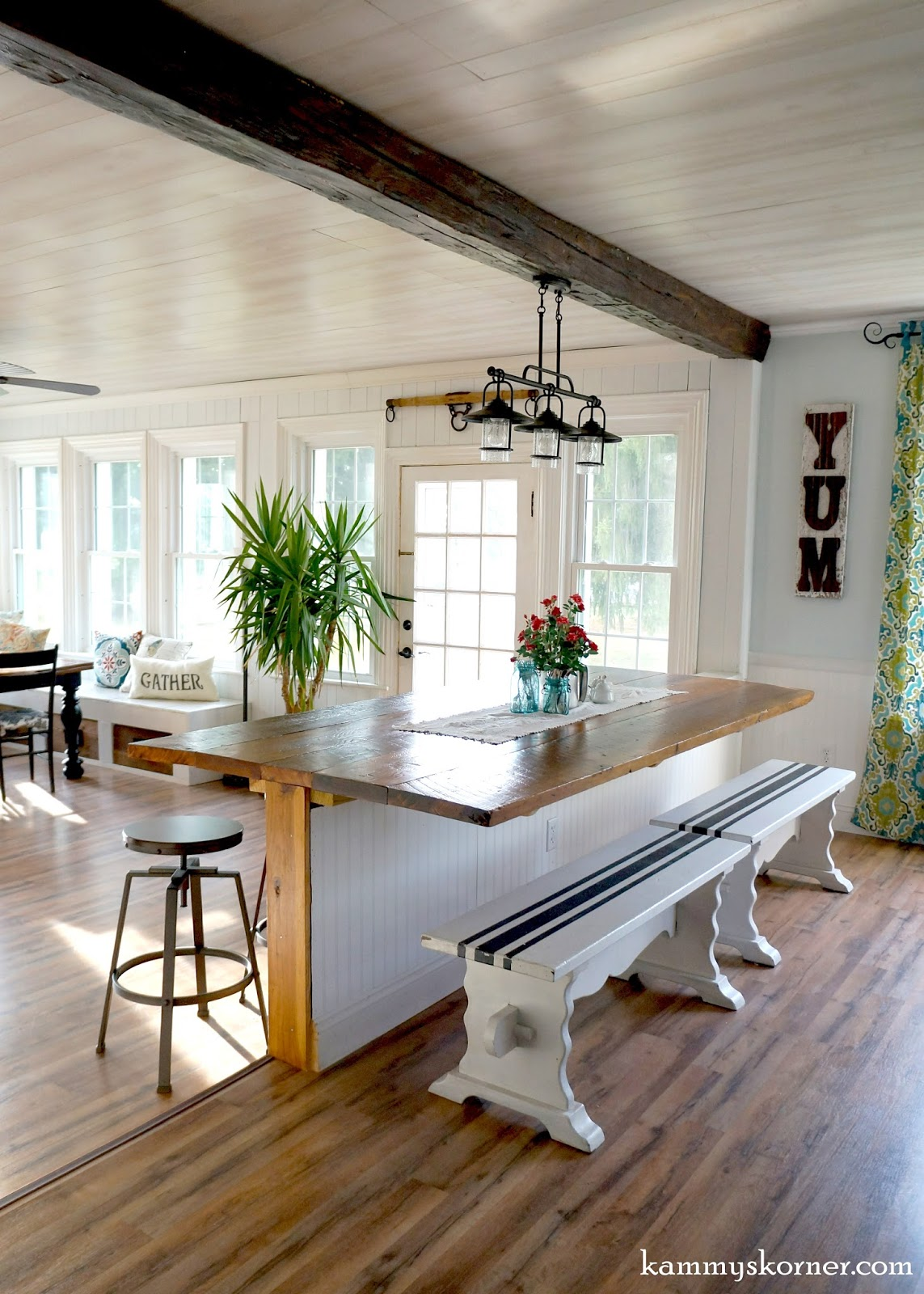 16 Sunroom And Dining Room Renovation, Built In Table Made Of Reclaimed Wood ,