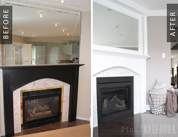 How to update a tiled fireplace and mirrored mantel -- such a great DIY job for a fresh look!