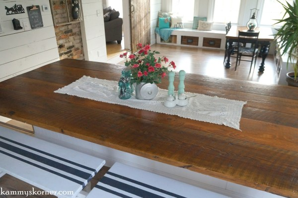 21 Table top hand-finished out of reclaimed barn wood, by Kammy's Korner featured on @Remodelaholic