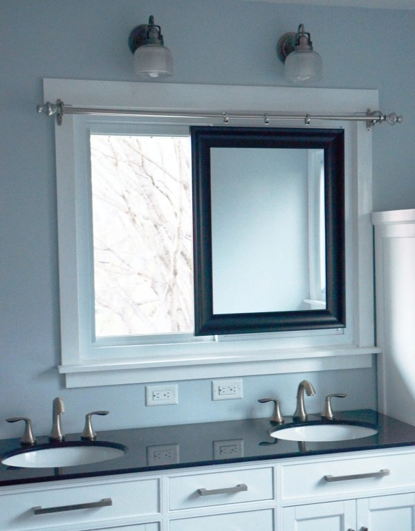 Master Bathroom Remodel with sliding mirror across window, DIY, by Since I Became a Mom featured on @Remodelohic