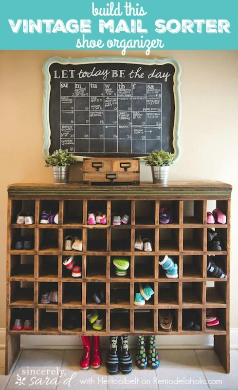 Build your own vintage mail sorter shoe cubby organizer, inspired by a thrifted piece, with free building plans on Remodelaholic.com
