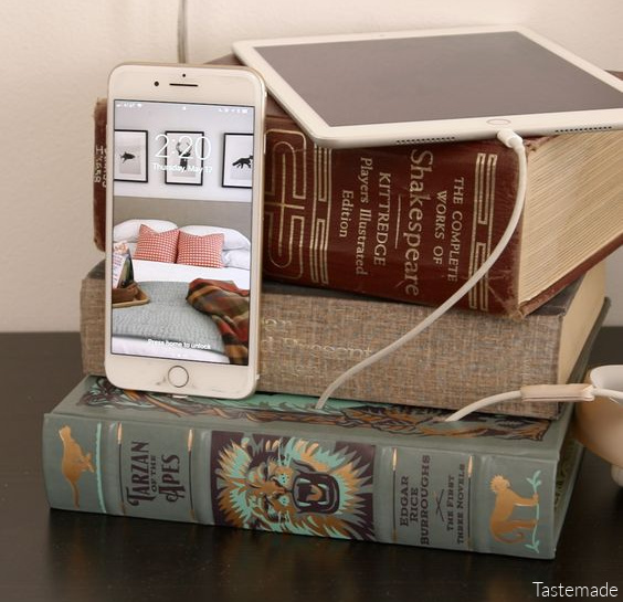 DIY Charging Station From A Stack Of Books By Tastemade on Remodelaholic