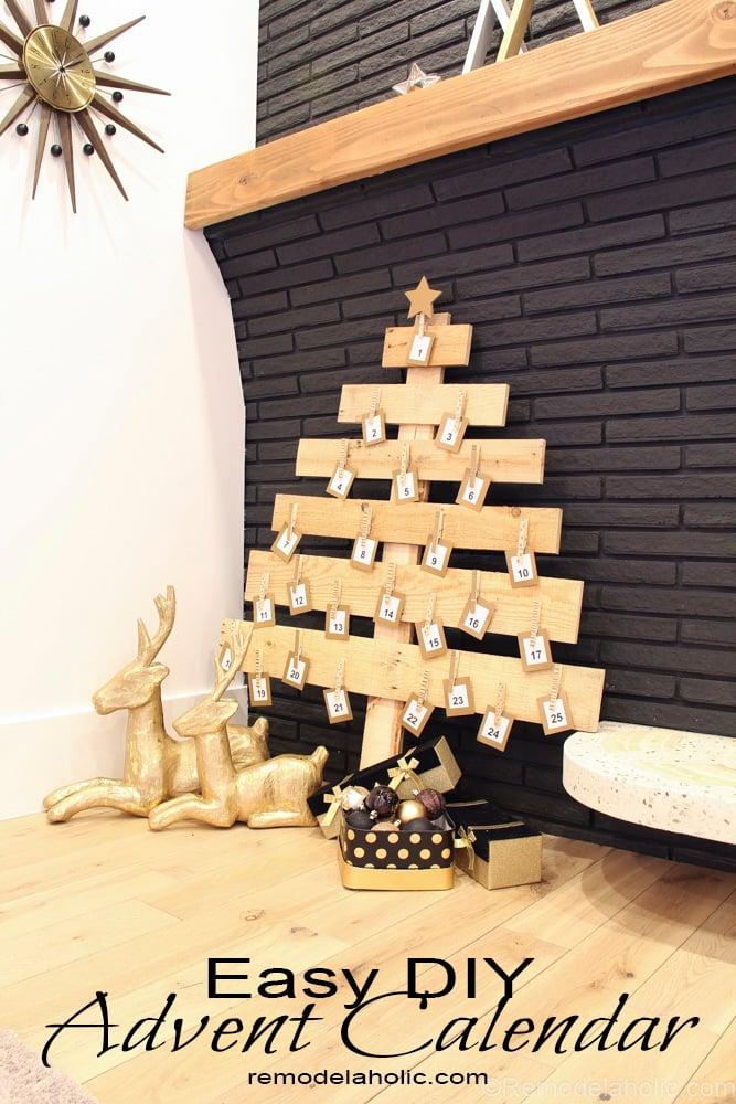 remodelaholic diy pallet wood christmas tree advent calendar; day 11Christmas Tree Advent Calendar Diagram #8