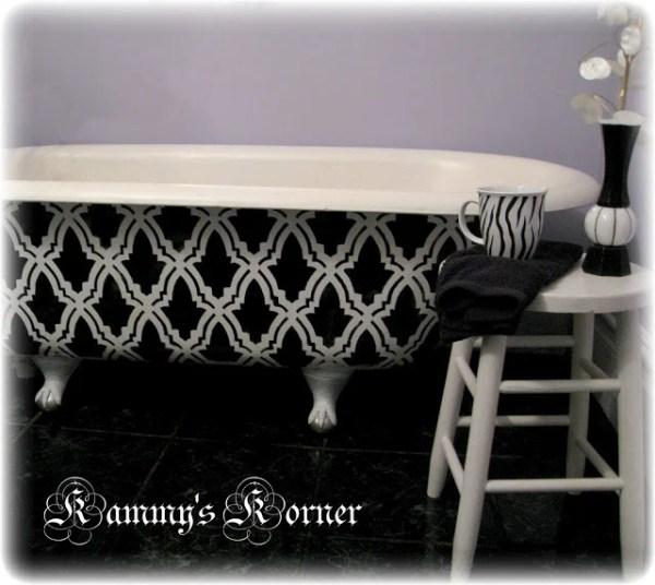 Kammy's Korner painted claw foot bath tub