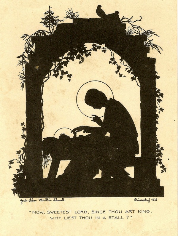 vintage nativity silhouette art print
