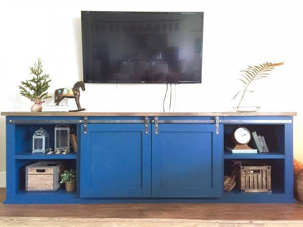 blue sliding door console, plans by Ana White