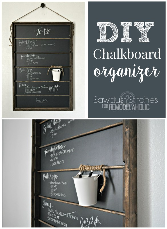 Build this DIY chalkboard organizer for under $25! Just a few boards and some dowels come together to make this easy message board, great for a menu board or family calendar, too.