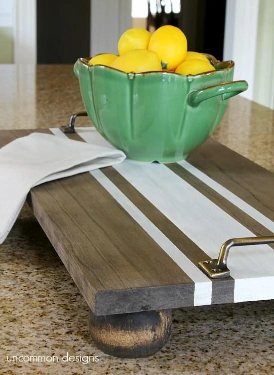 easy diy grain sack wood serving tray Uncommon Designs