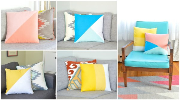 easy geometric color block pillows Plaster and Disaster
