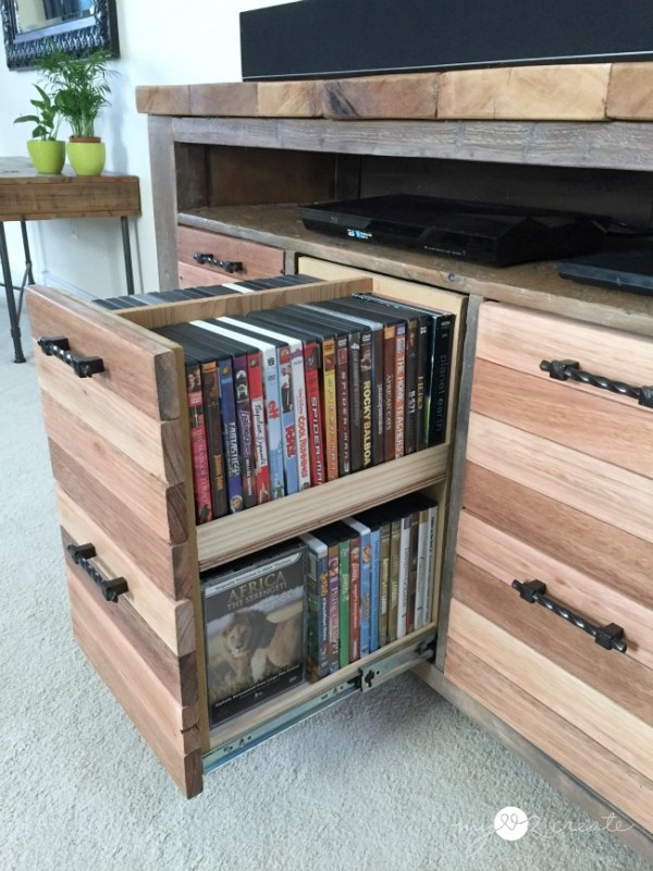 reclaimed wood media console with awesome storage drawers, Mylove2create