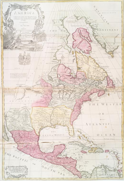 1700s antique map of North America NYPL