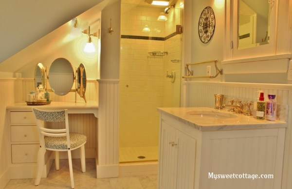 4 Beautiflly remodeled dormer window bathroom, My Sweet Cottage featured on @Remodelaholic