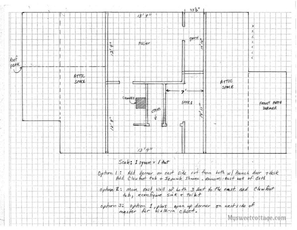 6 Hand-drawn plans for adding dormer window to existing 1920s cottage, by My Sweet Cottage featured on @Remodelaholic