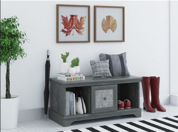 Beautiful gray storage bench, perfect for an entry | 100+ Beautiful Mudrooms and Entryways at Remodelaholic.com