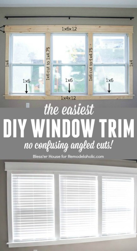 DIY tutorial for installing the easiest DIY window trim. This craftsman style trim requires NO confusing angled cuts, so it's easy for anyone to do, even a beginner featured on Remodelaholic.com