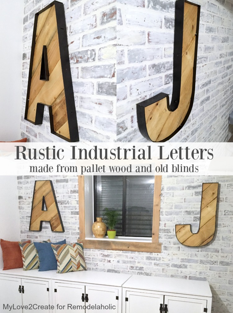 These rustic industrial pallet wood letters are HUGE and easy to make! She made them for just the cost of a can of spray paint.