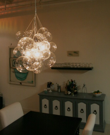 diy bubble chandelier glass