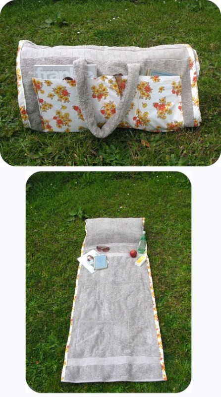 diy roll-up summer sunbathing tote -- turn a towel into a tote with a pillow and pockets for sunglasses, a drink, and reading material! VeryDarkHorse