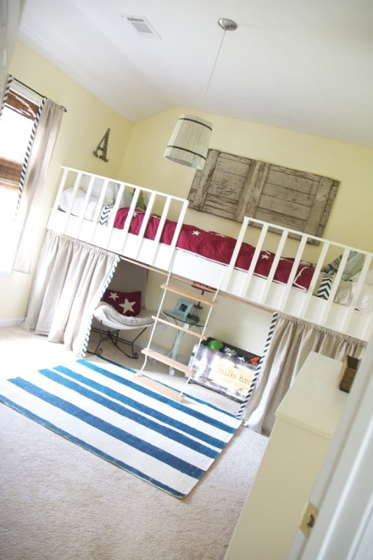 double loft bed rope ladder diy kids