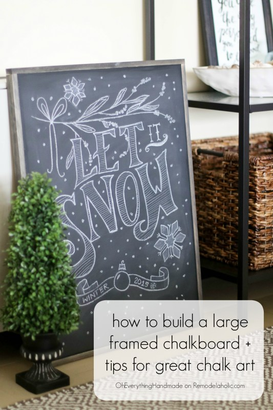 framed chalkboard diy tutorial plus tips for writing on a chalkboard @Remodelaholic